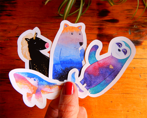 Animal sticker set (wombat, sloth, unicorn and whale)