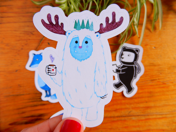 Animal sticker set (bear, yeti, wolf and whale)