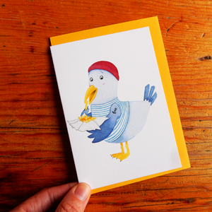 Seagull Eating Fish and Chips Greeting Card