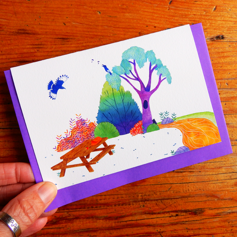 Picnic and Currawongs Greeting Card