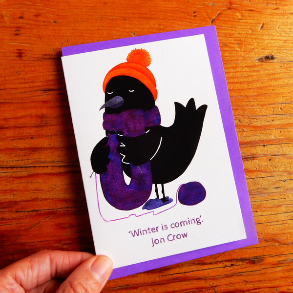 Winter Crow Greeting Card