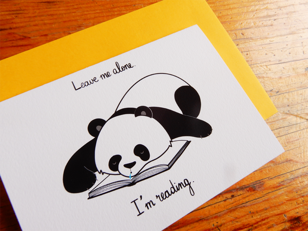 Book Lover Sleeping Panda greeting card