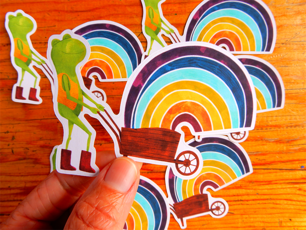 Happiness Rainbow Frog Die Cut sticker