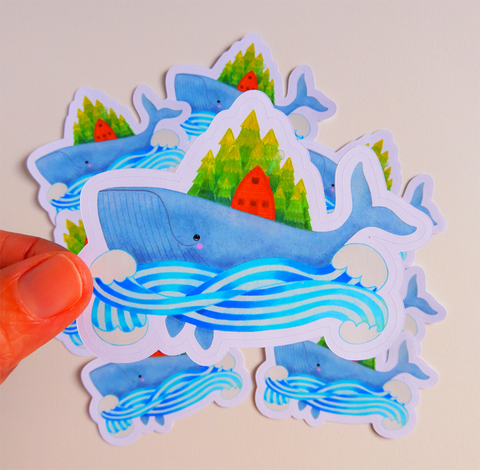 Whale Island Die Cut Sticker