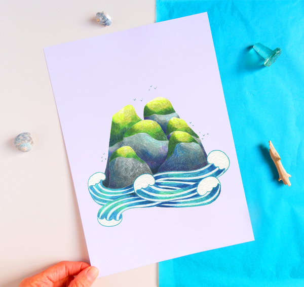 Green topped Islands Print