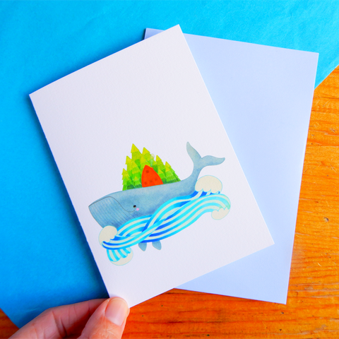 Whale Island greeting card