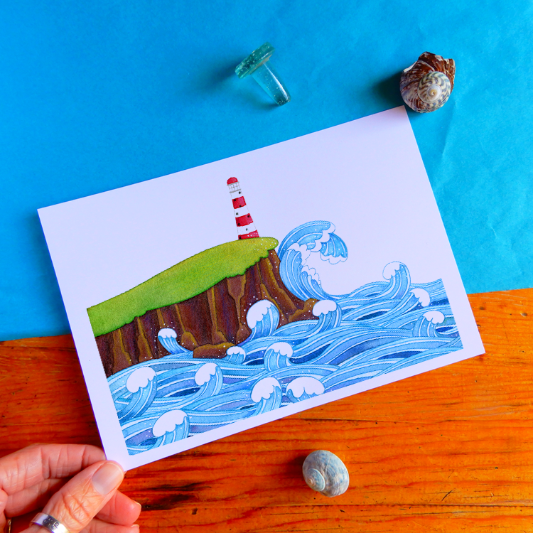 Lighthouse at Sea print
