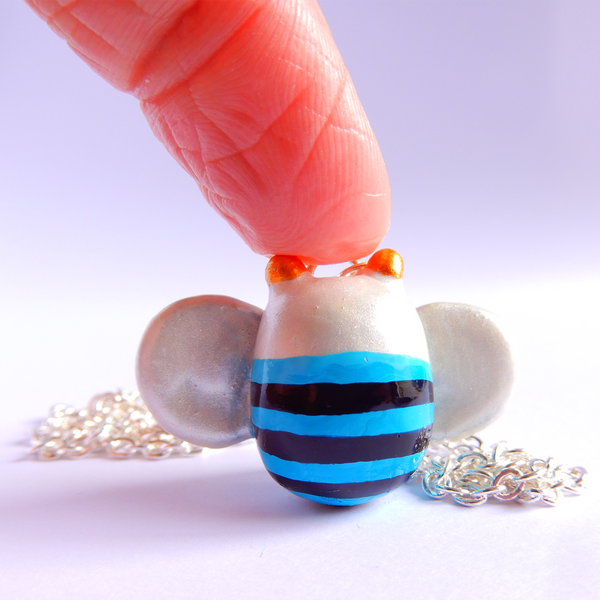 Blue banded bee pendant