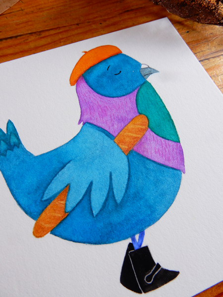 Original pigeon watercolour art