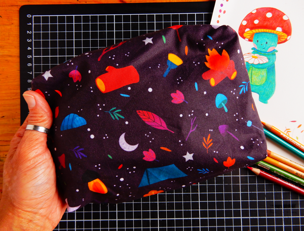 Night Camp pencil case with PURPLE zip