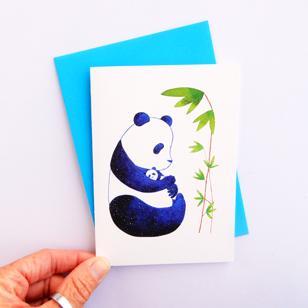 Mother and cub panda greeting card