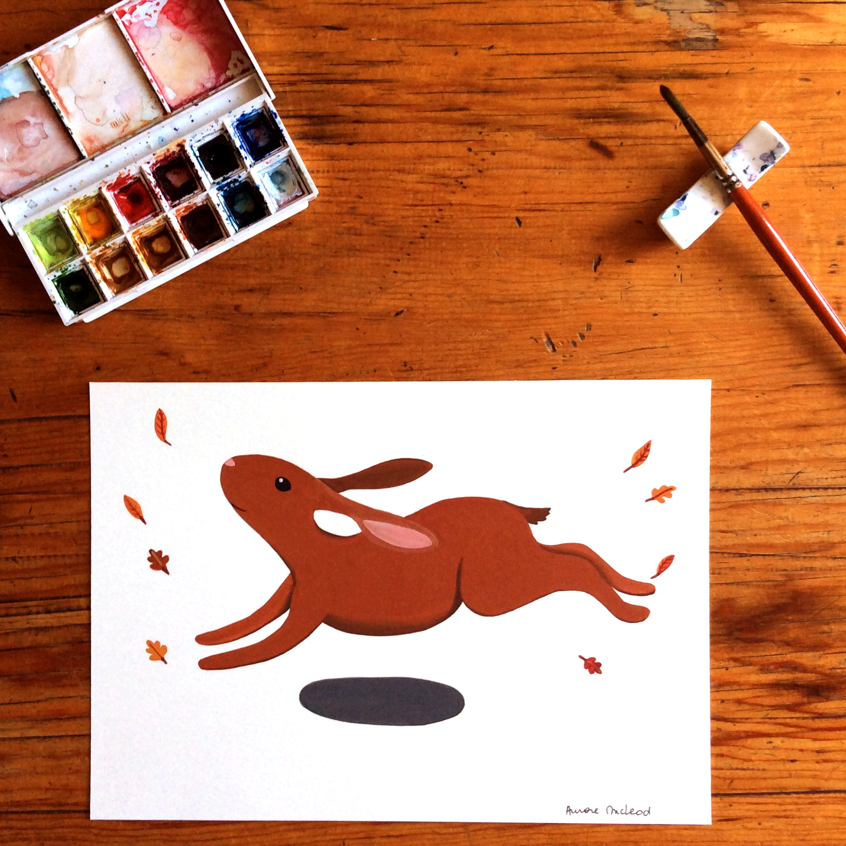 Original rabbit watercolour art