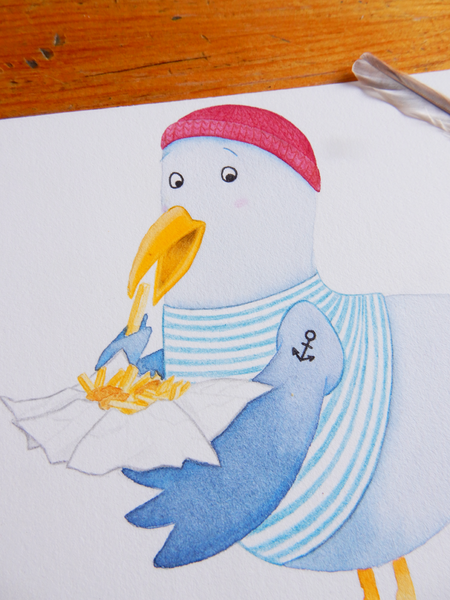 Original seagull watercolour art