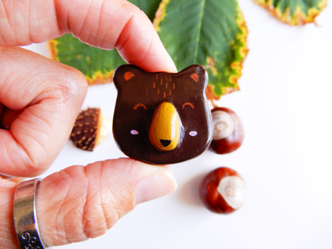 Handmade clay brown bear brooch
