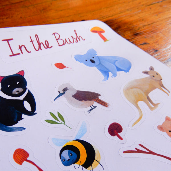 In the Australian Bush animal sticker sheet