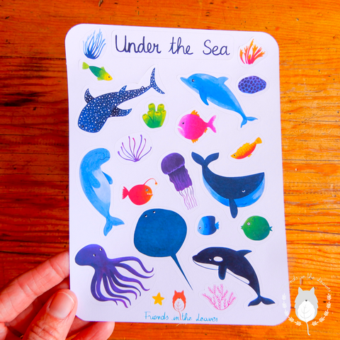 Under the Sea animal sticker sheet