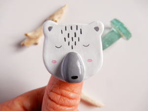 Handmade clay polar bear brooch