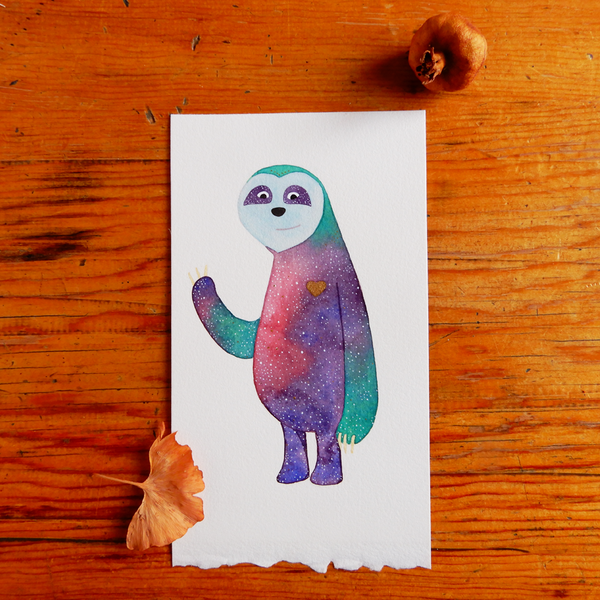 Original galaxy sloth watercolour art
