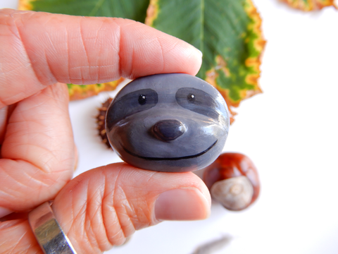Handmade clay sloth brooch