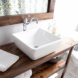 White Sink, Rustic Mirror Frame