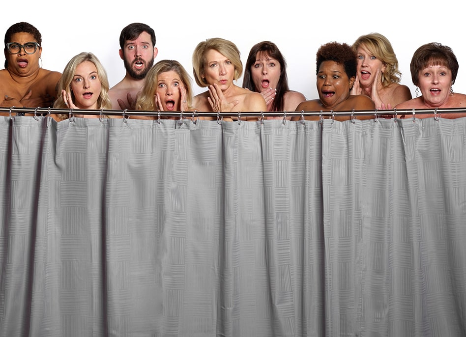 MirrorMate office staff hiding behind a shower curtain