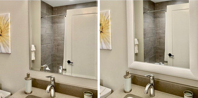 Before and After Beveled Edge Mirror Frame