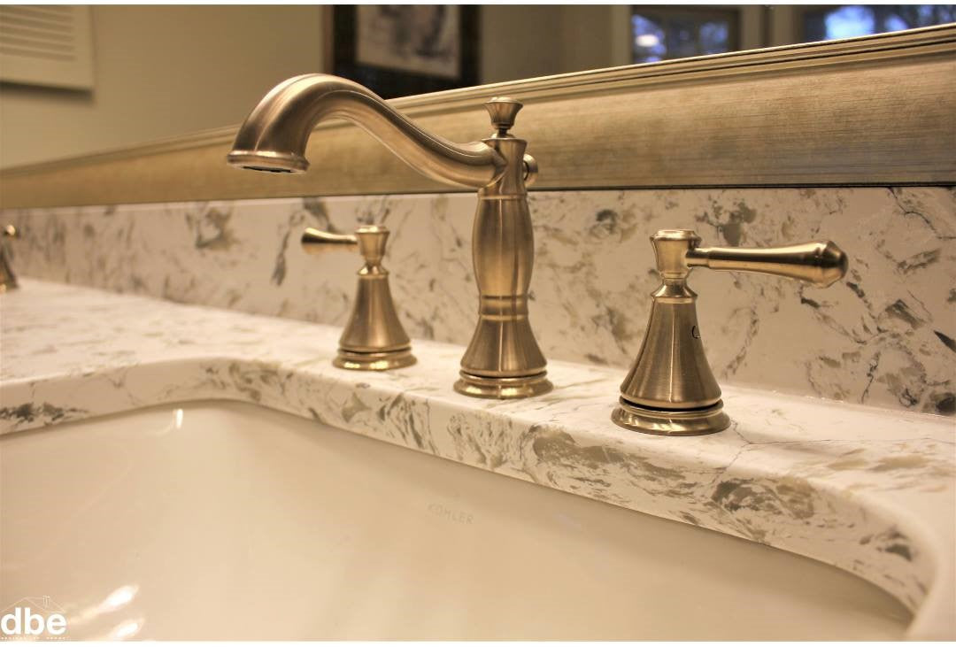 Gold Faucet Accenting Gold Bathroom Mirror Frames