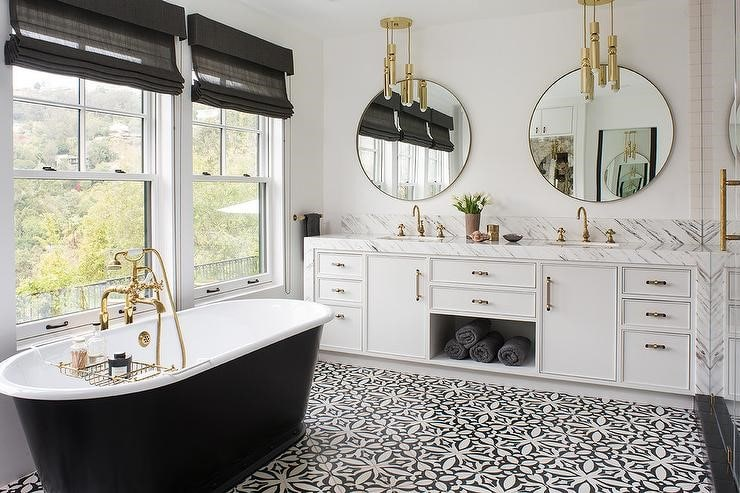 Matte Black White Decor Accents in a Bathroom