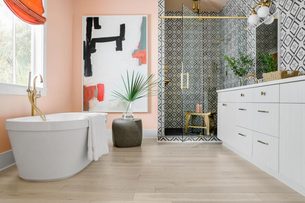 Modern Bathroom with Retro Shower Tile