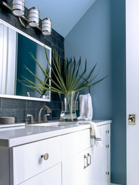 Modern White Sink with Ocean Blue Wall Paint