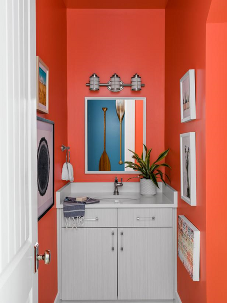 Orange Bathroom with White Vanity