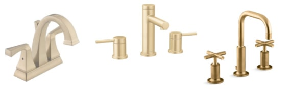 Polished Brass, Bronze and Gold Bathroom Fixtures