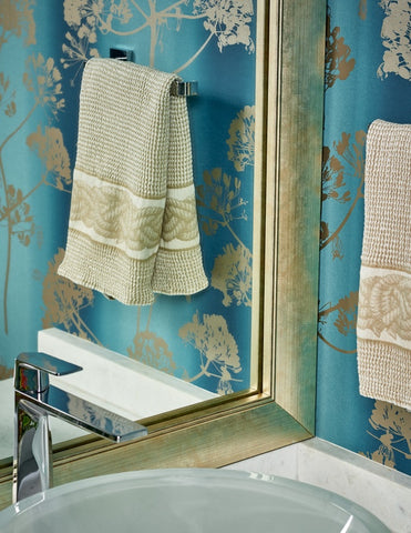Solana Mirror Frame with White Marble Bathroom Counter