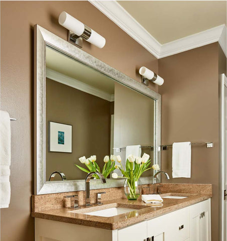 Taupe Painted Bathroom with Solana Modern Silver Mirror Frame