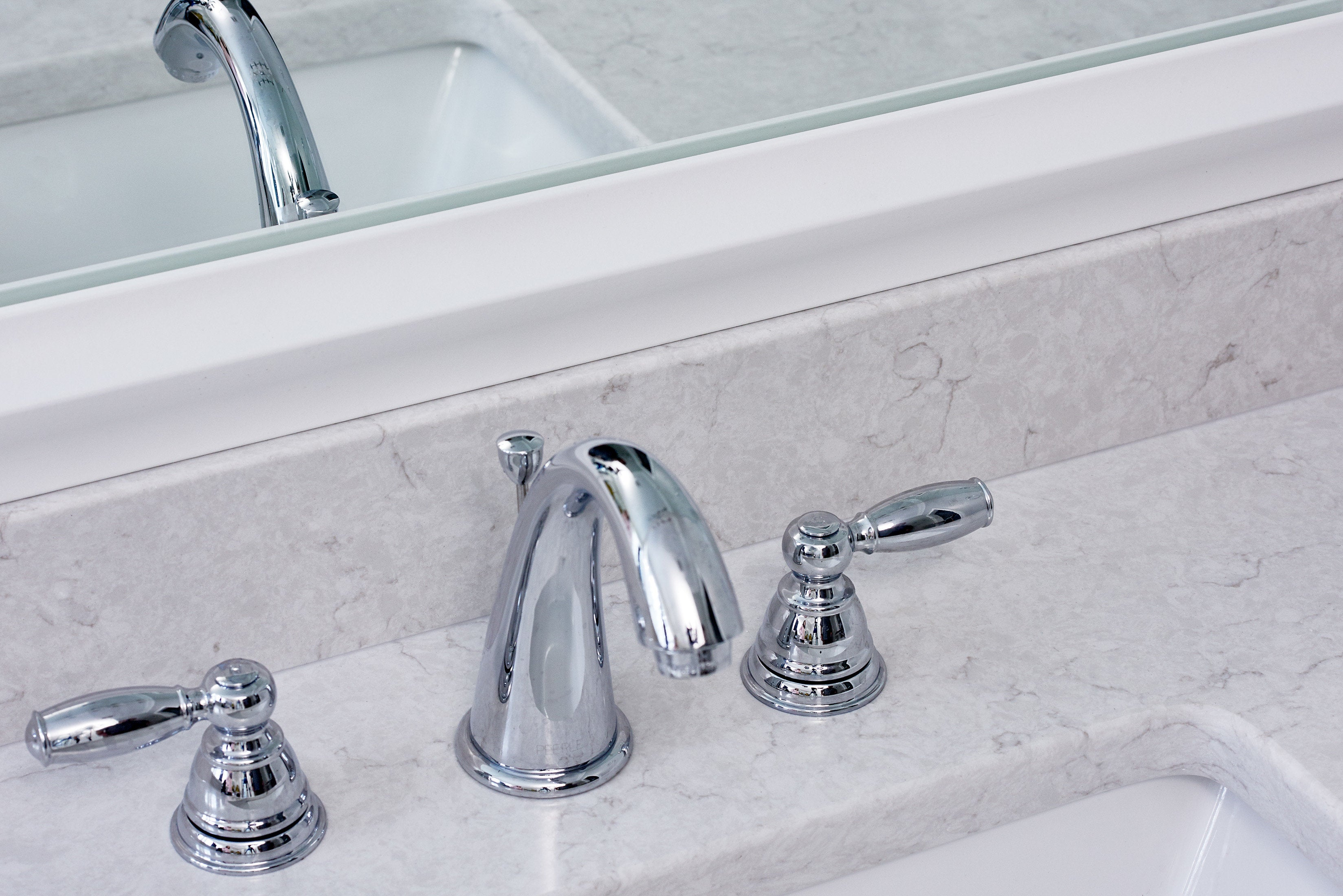 After White Mirror Frame Faucet Mirror View