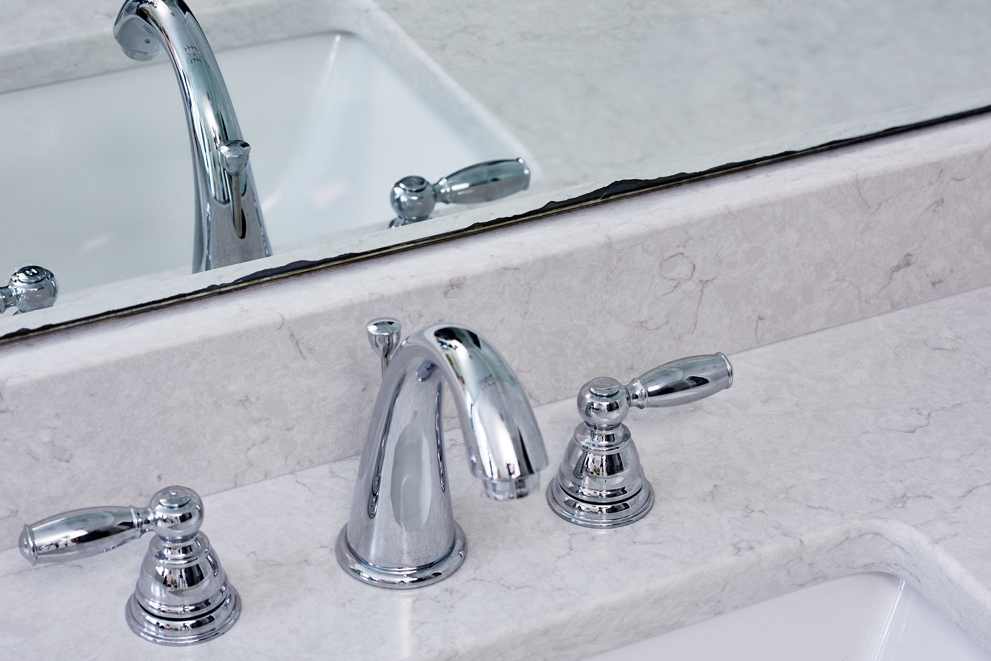 Before White Mirror Frame Faucet Mirror View
