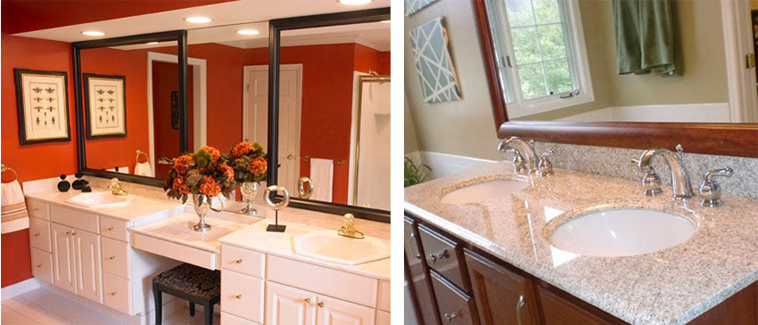Double sink vanities with MirrorMate frames installed in two ways. Either two separate frames obove two sinks or one frame spanning two sinks.