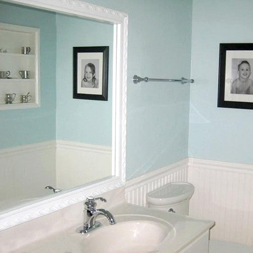 Acadia Dove White Frame in Blue Bathroom
