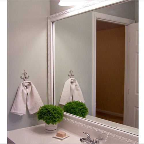 White DIY Bathroom Mirror Frame Kits