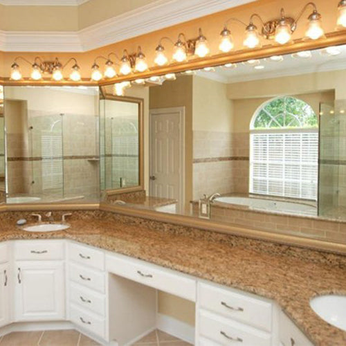 Elegant Champagne Bathroom Wall Mirror Framing