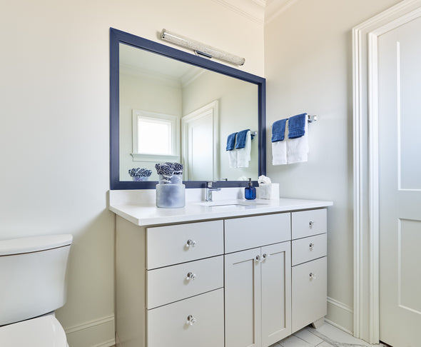 Dark Blue Trimmed Bathroom Mirror
