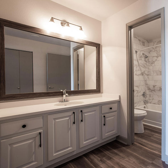 Cherokee Montauk Driftwood Mirror Frame in Bathroom