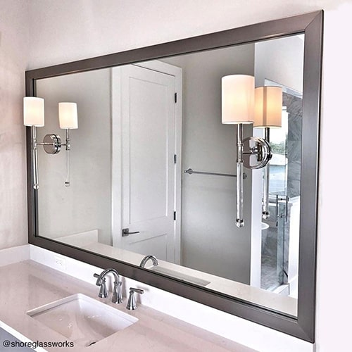 Brushed Chrome Bathroom Wall Framed Mirror