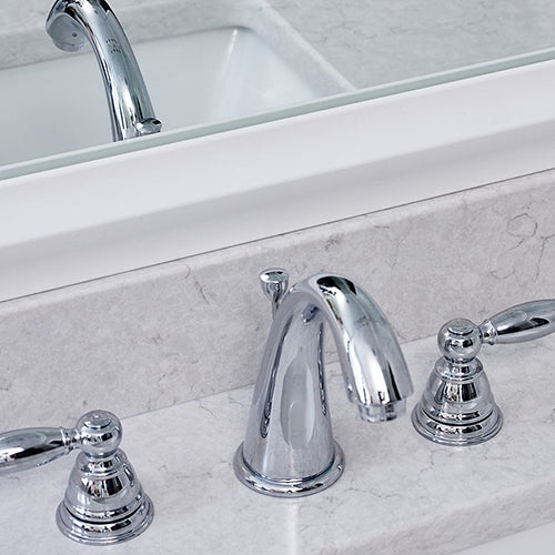 Classic White Mirror Frame With Silver Faucet