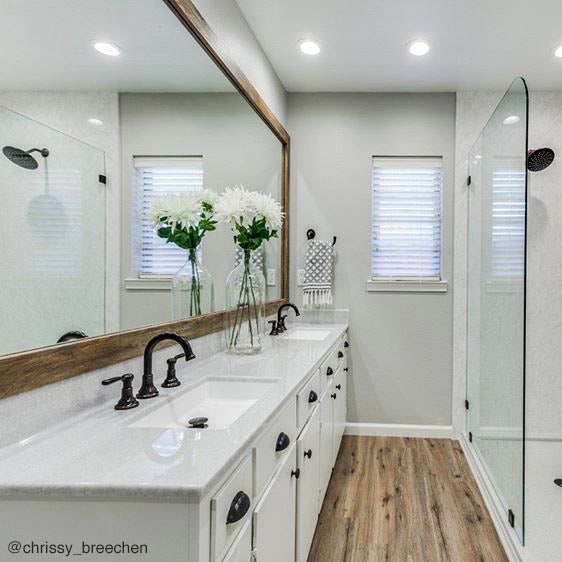 Large Barnwood Wood Mirror Frame in Bathroom