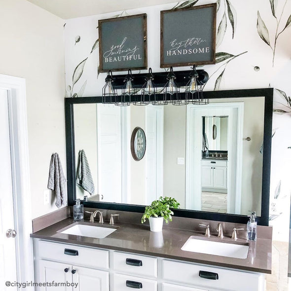 Modern Black Framed Bathroom Mirror