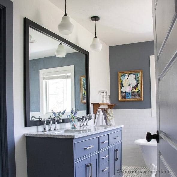 Thin Black Framed Bathroom Mirror