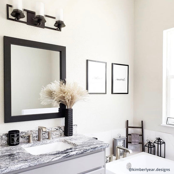 Contemporary Small Black Framed Mirror in Bathroom