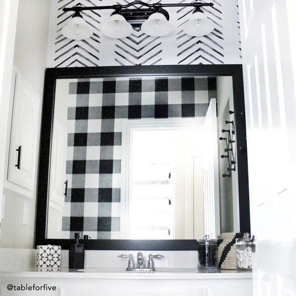 Highline Slim Midnight Black Frame in Black and White Contemporary Bathroom