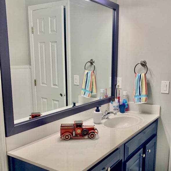 Navy Blue Bathroom Mirror Trim